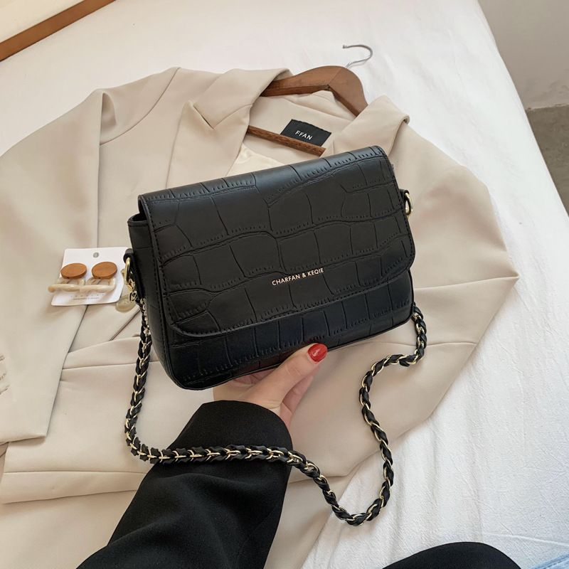 new trendy fashion crocodile pattern shoulder wild chain women's messenger bag NHJZ263386
