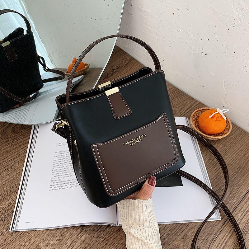 Retro bucket new fashion trend small hit color shoulder handbag for women NHJZ263392