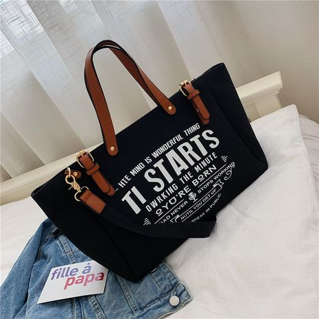 canvas bag women new large-capacity portable tote bag Korean casual shoulder bag NHJZ263401's discount tags