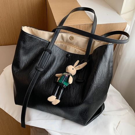 Large-capacity handbags fashion big simple soft leather shoulder tote bag NHLH263484's discount tags