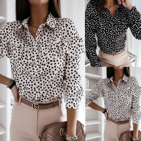 Fall new style long-sleeved printed ruffle shirt for women hot-saling wholesale NHJG263494's discount tags