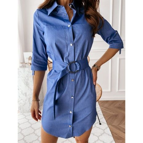 Autumn new fashion solid color tie waist shirt sleeve-pull denim shirt NHJG263492's discount tags