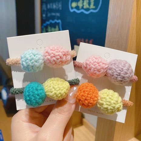autumn Korean girls new candy color knitted wool high elastic rubber band hair scrunchies hair rope NHCQ263530's discount tags