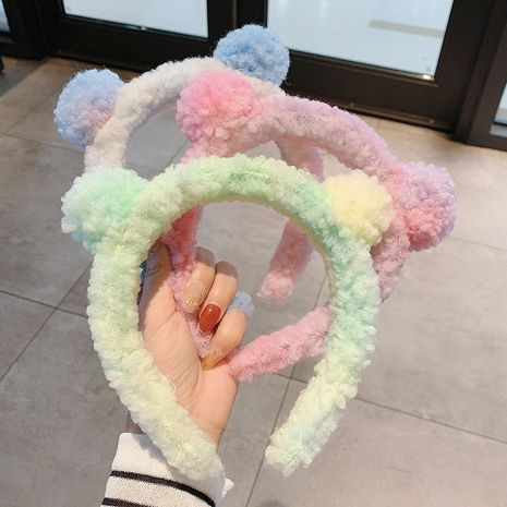 Korea autumn and winter lamb hair bear accessories ball heart mori style funny face wash plush headband NHCQ263537's discount tags