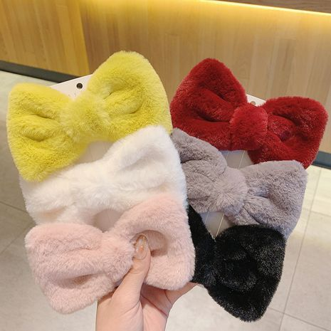 Korea new gentle sweet delicate big bow plush hairpin clip on the back of the head NHCQ263543's discount tags