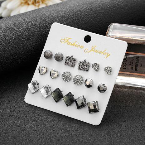 Boucles d'oreilles en strass carré noir Boucles d'oreilles tout-assorties de style palais rétro 9 paires NHSD263552's discount tags