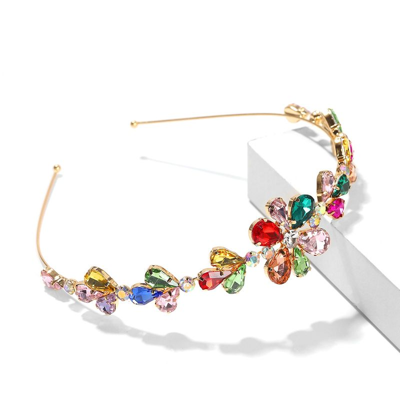 High-level hair accessories Baroque full diamond rhinestone retro alloy thin-side headband  NHJQ263580