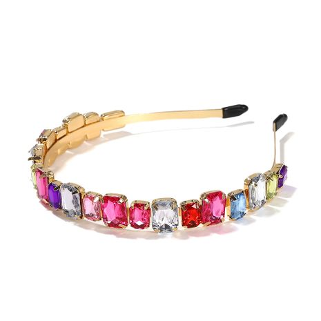 High-level alloy diamond-studded square glass headband women's super flash hair accessories  NHJQ263581's discount tags