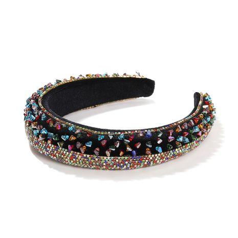 Éponge en strass à la mode de haut niveau élargie et épaissie bandeau bicolore baroque NHJQ263582's discount tags