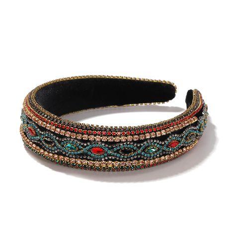 hot sale Korean full diamond high-level sponge belt drill Baroque wide edge rhinestone headband NHJQ263583's discount tags