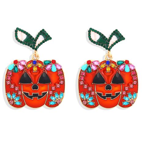 Hot-Selling Halloween Pumpkin Pendant Fun Smiley Face Diamond Fashion Stud Earrings  NHJQ263588's discount tags