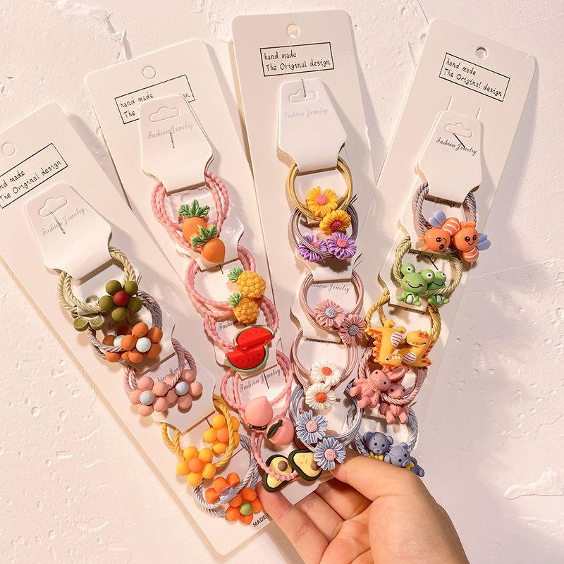 New cartoon fruit animal children's Korean girls tie hair rubber band hair scrunchies ponytail hair accessories set NHCL263608