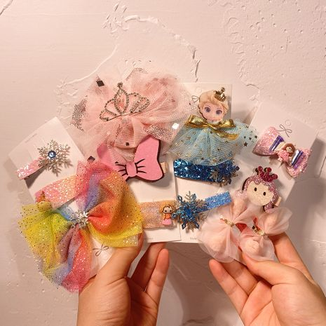 Corée nouveau fil net arc épingle à cheveux épingle à cheveux pour enfants couronne glace et neige frange BB pince latérale accessoires de cheveux NHCL263611's discount tags
