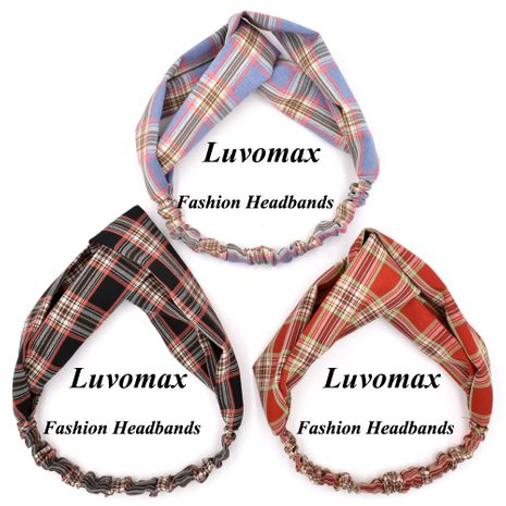 Otoño nuevo espesado clásico plaid cross retro tela plaid diadema accesorios para el cabello para mujeres NHCL263612's discount tags