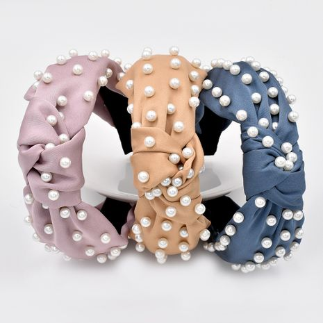 nueva diadema de perlas completa tela anudada diadema de color sólido accesorios para el cabello de moda NHCL263617's discount tags