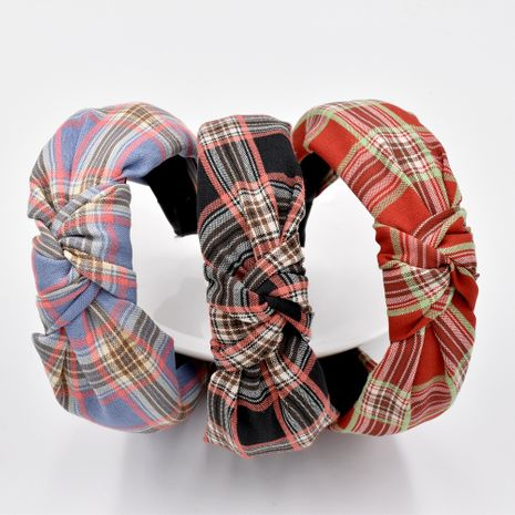 Autumn and winter fabric plaid striped knotted headband girls washing face hair accessories NHCL263618's discount tags