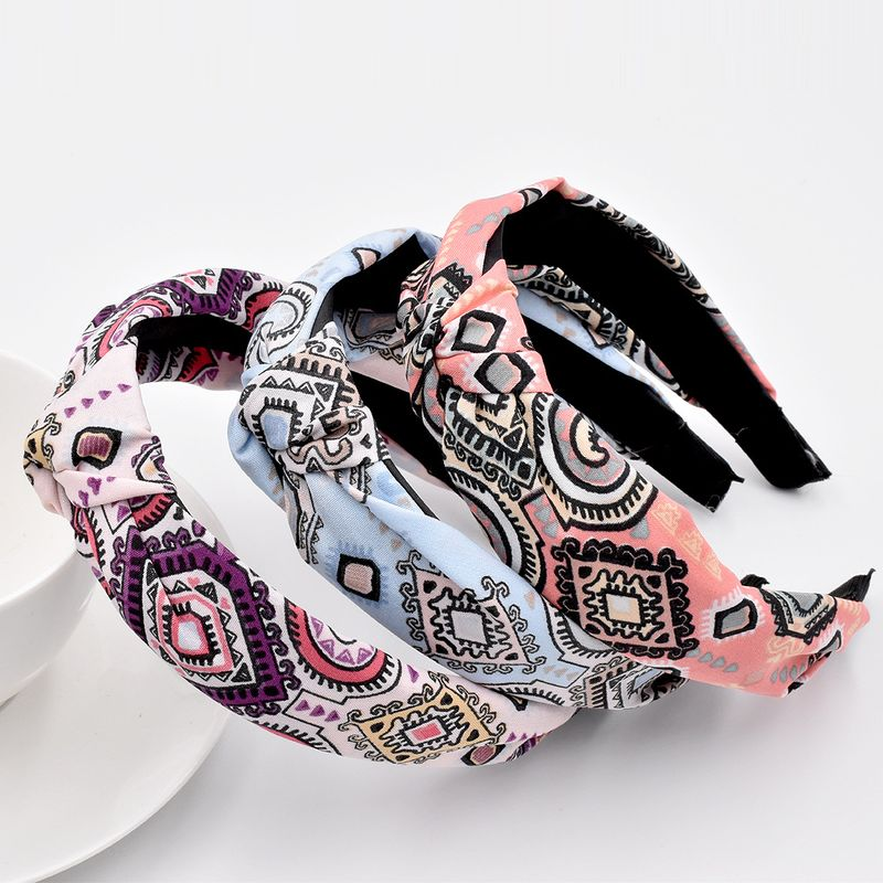 retro pattern Baroque headband ethnic bohemian girls fabric hair accessories NHCL263620