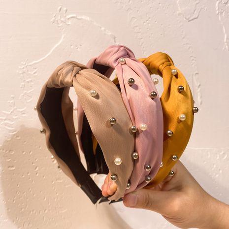 New Korean nail pearl headband ladies fashion fabric all-match hair accessories NHCL263621's discount tags
