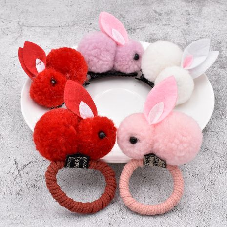 Autumn new bunny lamb plush cute girls rubber band hair tie animal hair scrunchie NHCL263622's discount tags