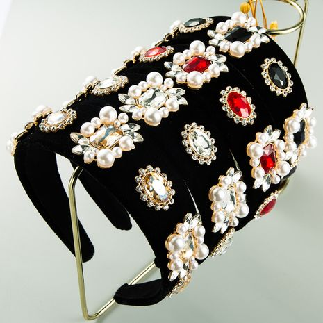 exaggerated black gold velvet cloth wide-border flower pearl headband retro baroque inlaid rhinestone headband NHLN263632's discount tags
