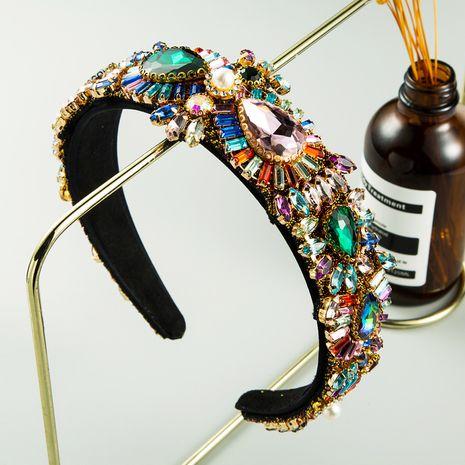 new multi-layer bangs clip headband women's fabric colorful rhinestone baroque wide-brimmed headband NHLN263633's discount tags