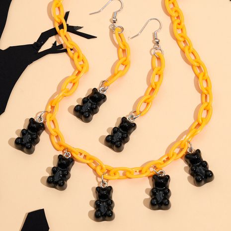 nouvelle mode pendentif ours en résine noire mignons enfants boucles d'oreilles ensemble de collier NHPV263637's discount tags