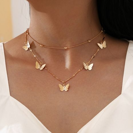 new simple and sweet bamboo link chain butterfly pendant clavicle chain double layer necklace NHPV263640's discount tags