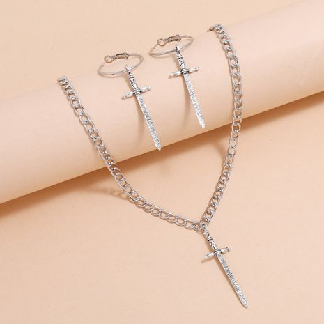 Punk style Fashion Keychain Iron Long Sword Tassel Earring Necklace Set NHPV263641's discount tags