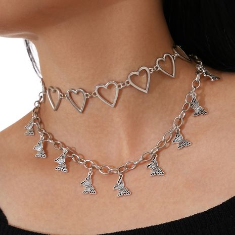 Fashion Double-layer Hollow heart Retro Butterfly Pendant Necklace  NHPV263646's discount tags