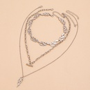 Fashion punk style multilayered clavicle chain silver flame spark pendant necklace set NHPV263647