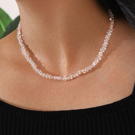 Fresh and simple clavicle chain transparent glass handmade beaded glass crystal necklace NHPV263648's discount tags