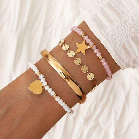 new style glass crystal elastic rope bracelet metal open heart star bracelet set NHPV263649's discount tags