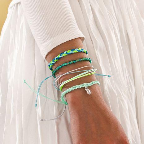 Bohemian hand-woven twist hand rope simple green beaded bracelet turtle pendant 4-piece bracelet set NHPV263650's discount tags