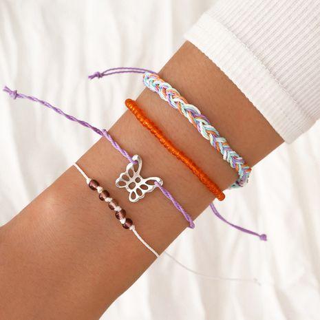 Bohème simple tissé à la main corde à la main papillon creux résine perle bracelet élastique ensemble de 4 pièces NHPV263653's discount tags