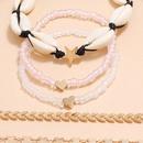 Sweet artificial transparent pink crystal elastic rope bracelet natural shell heart bracelet 5piece set NHPV263654