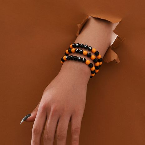 fashion handmade beaded Trick or Treat elastic rope letter 3-piece bracelet set NHPV263657's discount tags
