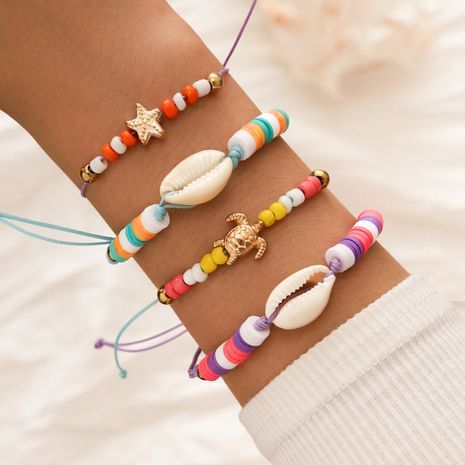 Bohemian style colorful beaded natural shell hand-woven bracelets hand rope sea turtle starfish bracelet set NHPV263660's discount tags