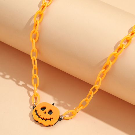 Halloween Small Ornament Acrylic Pumpkin Imp Pendant Resin Chain Necklace NHPV263664's discount tags