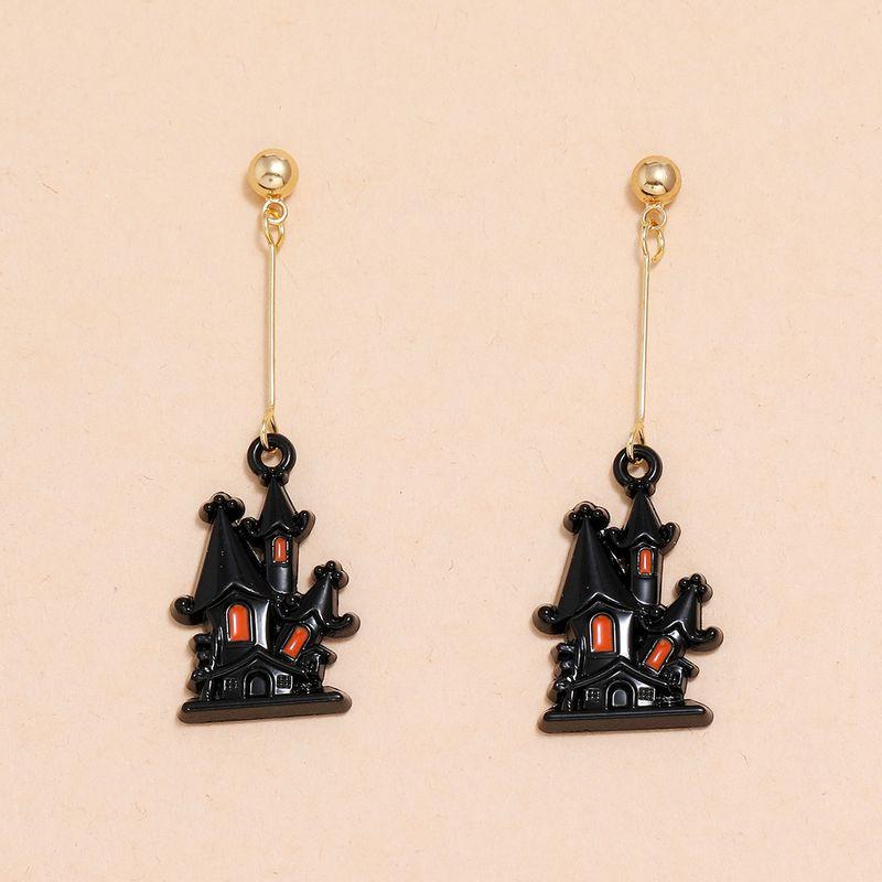 Halloween witch dripping oil castle long tassel earrings  NHPV263665