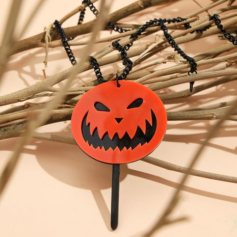 Halloween Small Ornaments Acrylic Pumpkin Little Devil Long Pendant Necklace  NHPV263667's discount tags
