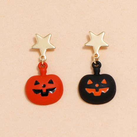 Halloween star small ear needle fun dripping pumpkin grinning earrings  NHPV263670's discount tags
