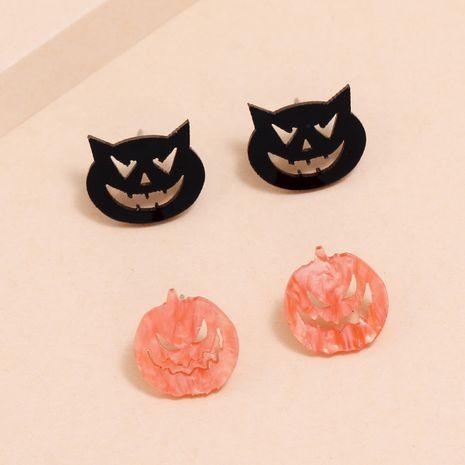 Halloween fun petite oreille aiguille acrylique bicolore citrouille boucles d'oreilles petit diable NHPV263671's discount tags