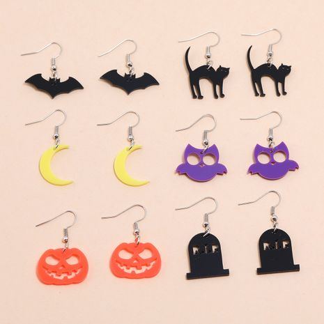 Halloween geometric ear hook acrylic bat cat owl moon pumpkin earrings  NHPV263672's discount tags