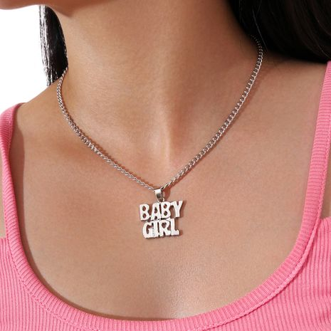 simple single layer letter clavicle chain BabyGirl pendant necklace  NHPV263673's discount tags