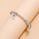 new simple silver thick chain planet moon drop oil fivepointed star pendant bracelet lovers bracelet NHPV263681