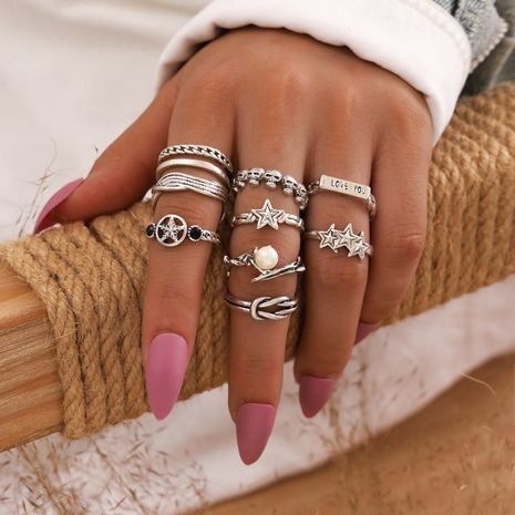 retro joint ring geometric pearl skull five-pointed star letter knot ring set of 9 NHPV263684's discount tags
