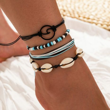 bohemian beach hand-woven foot ornaments natural shell beads sea wave anklet 4-piece set NHPV263686's discount tags