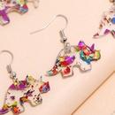 new silver ear hook acrylic colorful dinosaur Tyrannosaurus earrings set NHPV263692