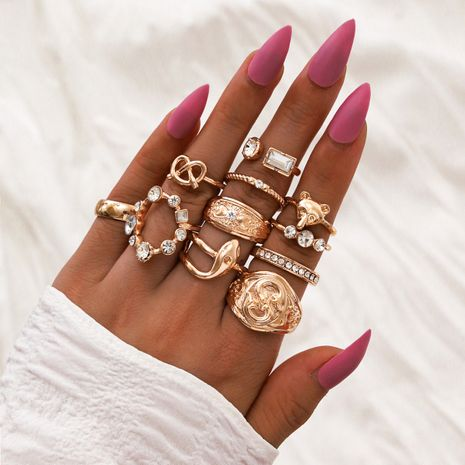 fashion new geometric joint fox head snake-shaped knotted diamond ring 11-piece set NHPV263696's discount tags