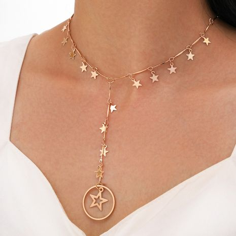 new simple single-layer five-pointed star clavicle chain long tassel circle star necklace NHPV263697's discount tags